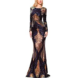 Long Sleeve Multi Sequin O Neck Backless Maxi Dress