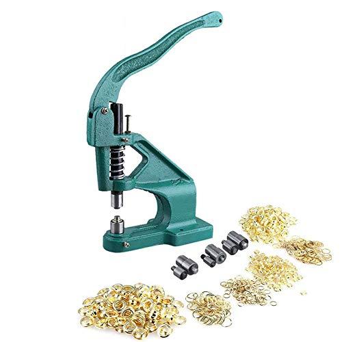 SOULONG - Prensa manual de cremallera con 3 plantillas y 900 anillas de 6 mm/10 mm/12 mm para costureras, artificiales, carteles y fabricantes