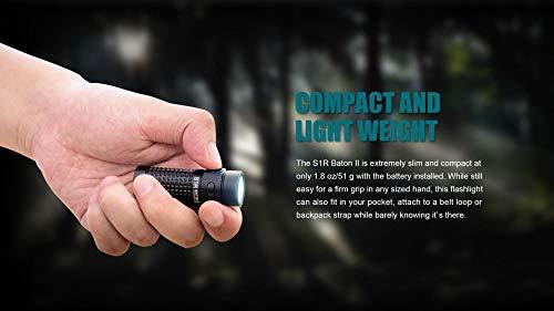 Olight S1R II 1000 Lumen Rechargeable EDC Pocket Flashlight with Olight Rechargeable Battery and LumenTac CR123A Backup Battery