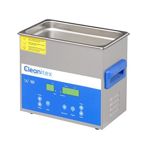 Cleanitex CXD3 (3 Liter), Ultraschallreinigungsgerät mit 40 kHz Frequenz, Ultraschallbad aus SUS304, Ultrashall Reinigungsbad mit 120 Watt Ultraschall-Leistung, Ultraschallreiniger mit Heizung