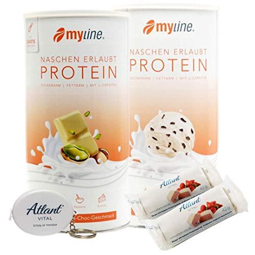 Myline Eiweiß Shake Proteinpulver 2er Pack 2x 400g + AV Maßband + 2 Proteinriegel (Pistazie-Stracciatella)