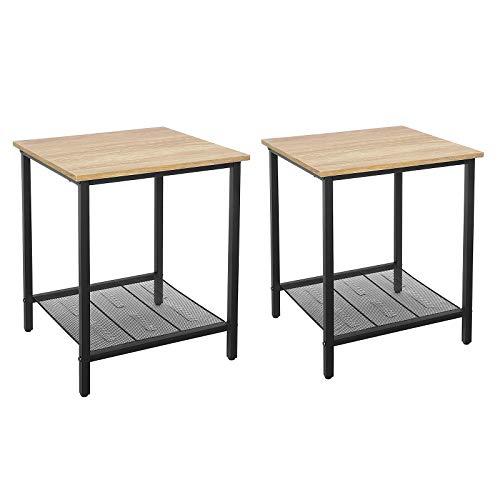 VASAGLE Set di 2 Tavolino da Salotto, Comodino in Stile Industriale, Struttura Resistente in Acciaio, Soggiorno Camera da Letto, Assemblaggio Semplice, Marrone Miele e Nero