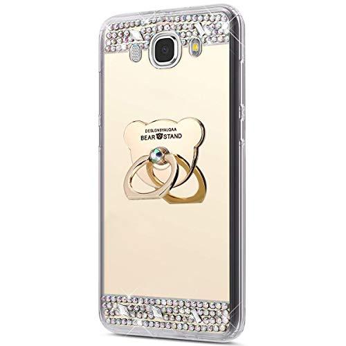 kompatibel mit Galaxy J5 2016 Hülle,Glitzer Strass Schutzhülle Weich Silikon Hülle Strass Diamant Spiegel TPU Silikon Hülle Handyhülle Tasche mit 360 Grad Ring Halter für Galaxy J5 2016,Gold