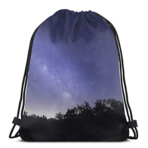 BXBX Trasportare BXBX Trasportare Bright Galaxy Above The Trees Drawstring Backpack Bag Shoulder Bags Gym Bag for Adult