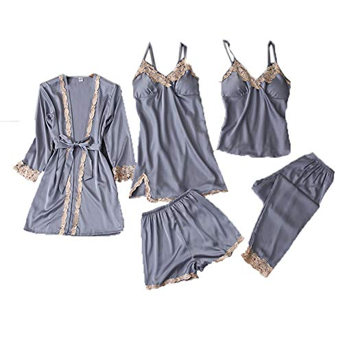 Pijamas para Mujer, OtoñO Y Verano, Sexy, CinturóN De Seda De Cinco Piezas, Almohadilla para El Pecho, Tirantes, CamisóN, Servicio A Domicilio