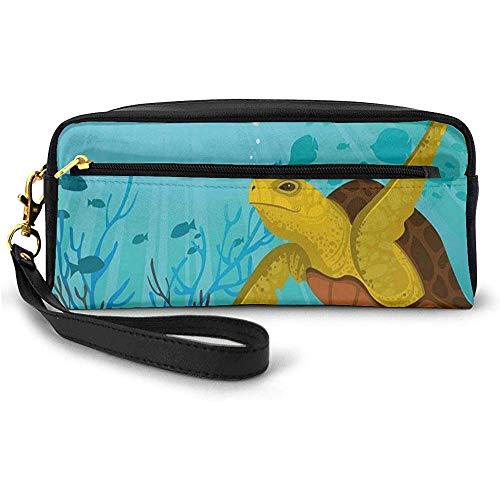 Animal Mignon de Bande dessinée sous la mer Silhouettes de Poissons Rayons de Soleil Corail Petit Sac de Maquillage avec étui à Crayons à glissière 20 cm * 5,5 cm * 8,5 cm