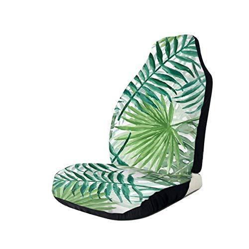 NIET Grote Groene Varen Palm En Monstera Tropische Planten Gooi Kussen Automobile Full-size Bedrukte Stoelhoezen Is Makkelijk Te Install2PCS