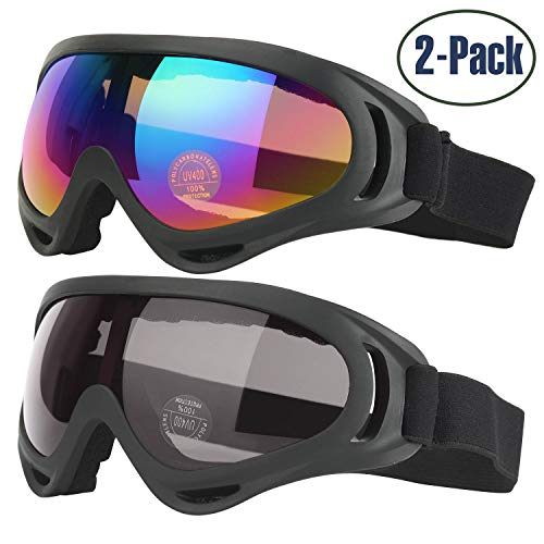 COOLOO Ski Goggles, 2-Pack Skiing Snowboard Goggles for Kids Men & Women,...