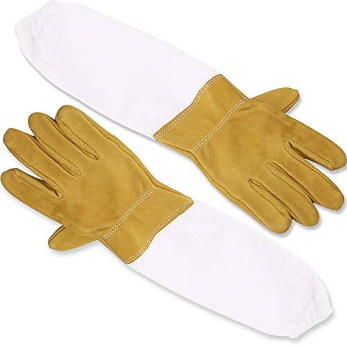REYOK Imker-Handschuhe Ziegenleder Imkerhandschuhe mit Lange Ärmel Handgelenken 50CM Perfekt für den Einsteiger Beekeeper Gelb