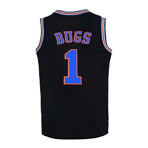 Youth Basketball Jersey #1 Moive Space Jam Jerseys Bugs Shirts for Kids (Black, Youth X-Large)