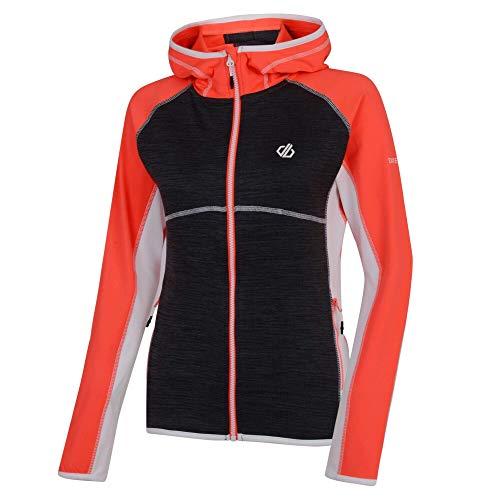 Dare 2b Damen Courteous Core Stretch Lightweight Quick Drying Full Zip Hooded Fleece Dehnbare Mittelschicht, Pink (Fiery Coral/Charcoal Grey), 16