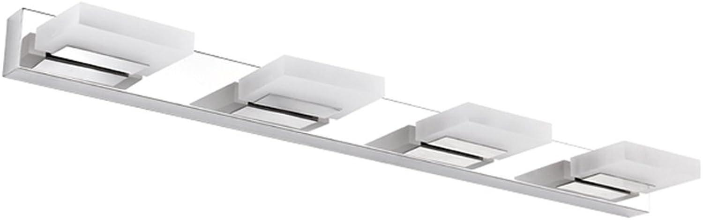 DFHHG  Spiegel-Frontleuchte, Acryl Highlight LED Edelstahl Anti-Fog-Spiegel Frontleuchte Bad Bad Kommode wasserdichte Beleuchtung lang 35 55 75 cm (gre   4 Kopf)