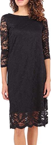 Joys® Damen Abendkleid, kurz, Spitze mit Blumen, Vintage-Kleid, Cocktailkleid, 3/4-Ärmel Gr. L–XL, schwarz
