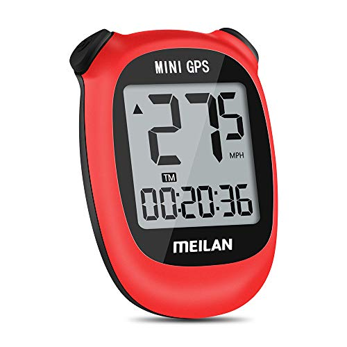 MEILAN M3 Mini GPS Bike Computer, Wireless Bike Odometer and Speedometer Bicycle Computer IPX5 Waterproof Cycling Computer with LCD Display for Outdoor Cycling All Bikes (Red)