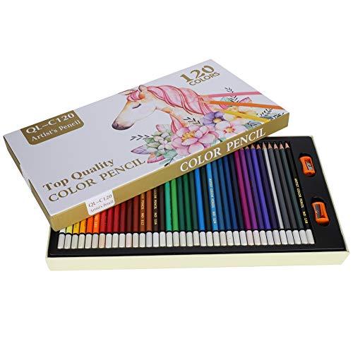 Lápiz de color profesional de 120 colores, juego de lápices portátil suave,...