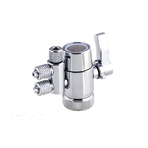 PureSec Brass Faucet Sprayer Attachment Sink Faucet to Hose Adapter Faucet Splitter with M22(≈22mm) Female Thread and Two Way 3/8 OD RO Tubing outlet for Counter water Filter