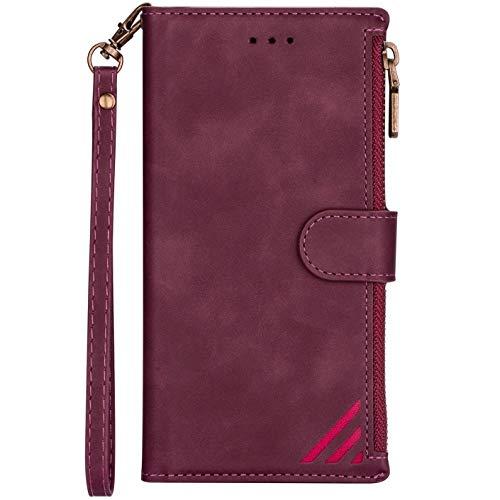 Hancda - Funda tipo cartera para iPhone 6/iPhone 6S, funda de teléfono móvil, funda abatible, con tarjetero, cierre magnético, monedero, color rojo vino