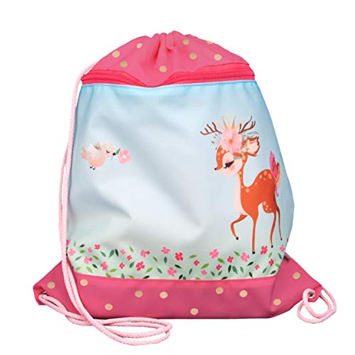 FUNKI Turnbeutel Bambi mit Rehmotiv, Praktische Aussentasche mit Reissverschluss, federleicht und praktisch verstaubar hellblau/rosa, Polyester, 36x42cm