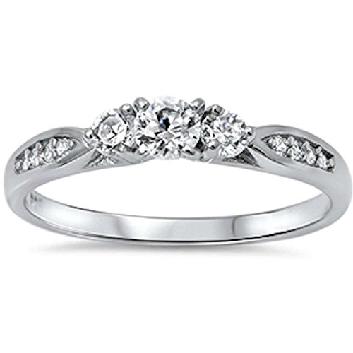 Oxford Diamond Co Cubic Zirconia Fashion Promise .925 Sterling Silver Ring Sizes 5