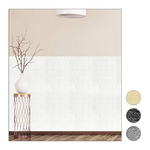 Relaxdays Wandpaneele selbstklebend, 10er Set, dekorative Steinoptik, 3D Paneele, weicher PE-Schaumstoff, 78x70cm, weiß