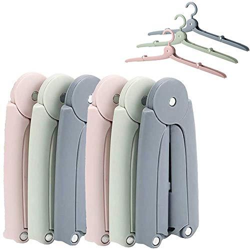 LeChamp 6pcs Travel Hanger Portable Folding Plastic Clothes Hanger Racks for Outdoor Camping Windproof Clothes Coat Skirt Hangers