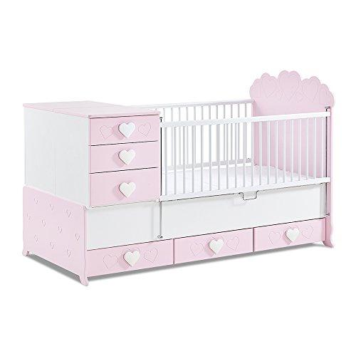 Babykamer, babymeubel, kinderkamermeubels, kinderkamer, meubels, combinatie: Little Princess meegroeiend babybed - roze