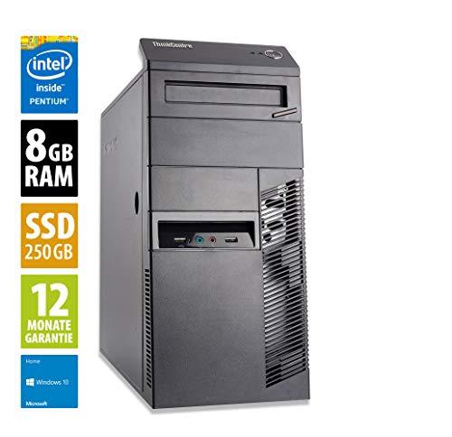 Lenovo ThinkCentre M83 MT   Office PC   Computer   Intel Pentium G3260 @ 3,3 GHz   8GB RAM   250GB SSD   Windows 10 Home (Zertifiziert und Generalüberholt)