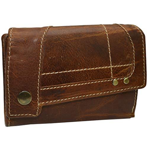 Geldbörse mit RFID Schutz Damen Brieftasche festes dickes Vintage Leder Portemonee
