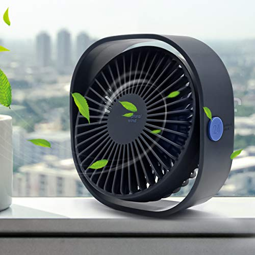 Great Features Of Mini USB Desk Fan, 3 Speed Personal Small Desktop Table Quiet USB Fan for Home Office Car Outdoor Travel (Blue)