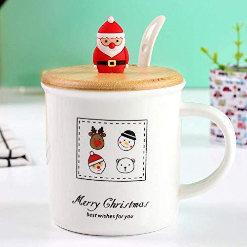 LJ Keramikbecher 2020Christmas Schneemann Keramikbecher 3D Weihnachtspuppe Stirnband Becher mit Deckel Löffel Porzellan Weihnachtsbecher Großhandel-04_Style