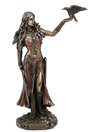 11' Morrigan - Celtic Goddess Sculpture Statue Crow Raven Home Decor Figure