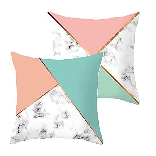 Set de 2 Fundas de Cojines Throw Pillow Case Triángulo de color Cojines Decor Terciopelo Suave Fundas de Almohada Cuadrado para Sofá Coche Dormitorio Decorativo Hogar G4639 Pillowcase+core_45x45cm