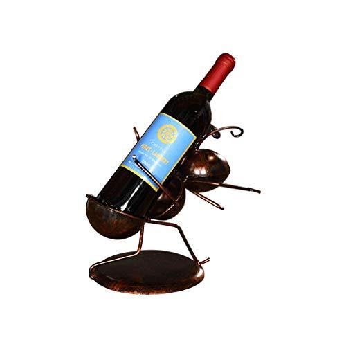Botelleros Botellero de escultura Titular de almacenamiento de vino pequeña hormiga gabinete del vino Decoración de vino Botellero Wine Bar Inicio Hierro forjado estante del vino encimera Gabi