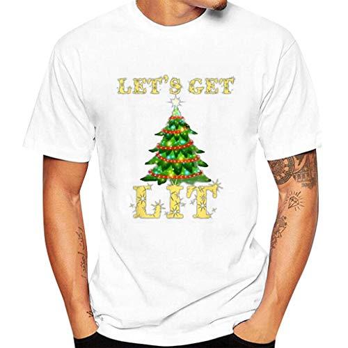 KPILP Herren T-Shirt Männer Weihnachten Drucken Unisex Damen Kurzarm T-Shirt Bluse Weihnachts-Shirt Fun Shirt Oversize Große Größen Christmas Sweatshirt