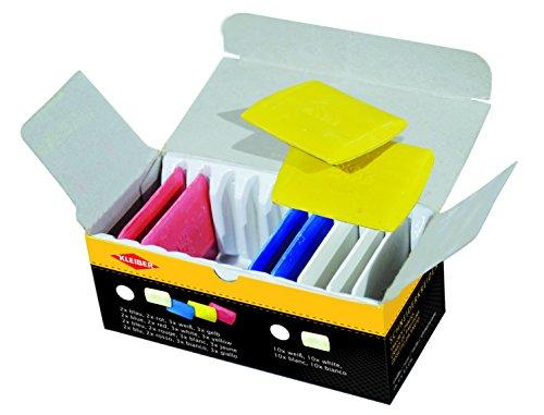 Kleiber - Triángulos de Tiza de Sastre, Colores Blanco/Amarillo/Rojo/Azul, Paquete de 10