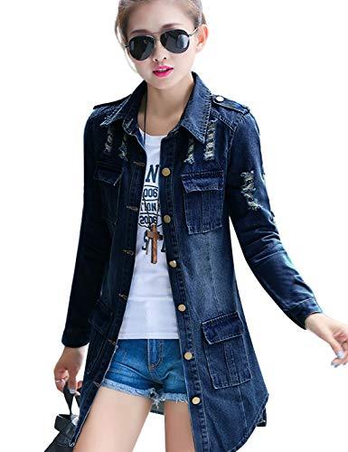 Tanming Women's Casual Lapel Slim Long Sleeve Denim Outercoat Jacket Windbreaker (X-Large, Dark Blue)