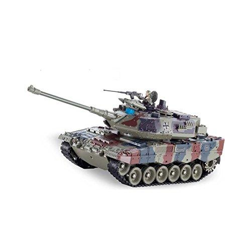 Juguetecnic Tanque Teledirigido RC Leopard 2A6 | Escala 1:18 | Airsoft + Efectos + Humo + Figura Militar | 3 Velocidades Maqueta de Tanque Radiocontrol