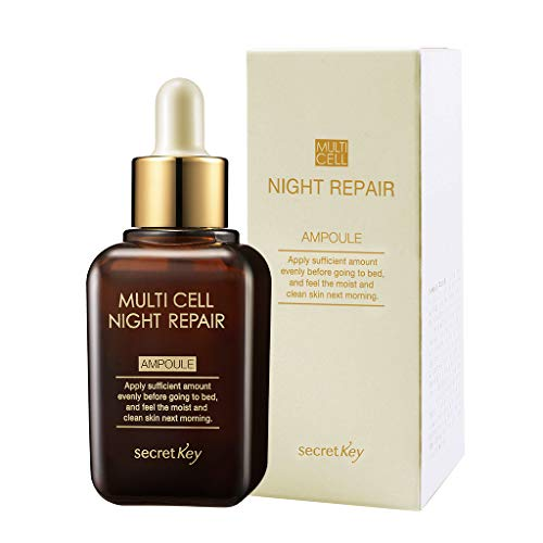 SECRET KEY Multi Cell Night Repair Ampoule 50ml - Plant Stem Cell Night Treatment Facial Serum, Rich Nutrition & Moisture, Anti-Wrikle Effect for Darkeness & Aging Skin