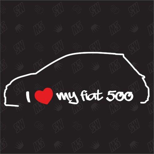 speedwerk-motorwear I Love My 500 Facelift - Sticker für FIAT ab Baujahr 2016, Auto, Tuning, Fan, Aufkleber