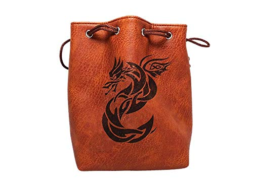 Brown Leather Lite Large Dice Bag with Celtic Knot Dragon Design - Brown Faux Leather Exterior with Lined Interior - Stands Up on its Own and Holds 400 16mm Polyhedral Dice