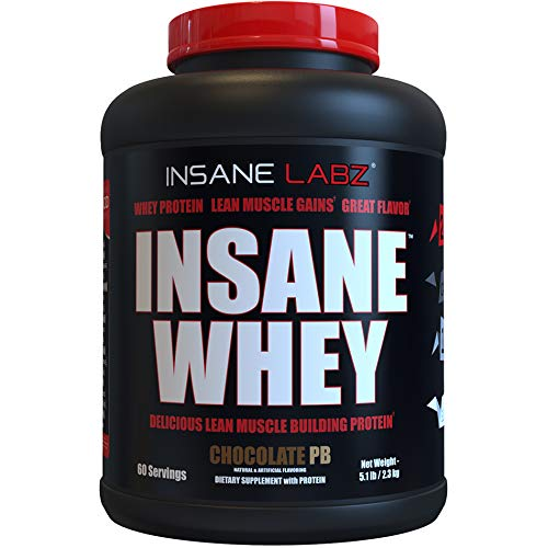 Insane Labz Insane Whey,100% Muscle Building Whey Isolate Protein, Post Workout, BCAA Amino Profile, Mass Gainer,Meal Replacement, 5lbs, 60 Srvgs, Chocolate Peanut Butter