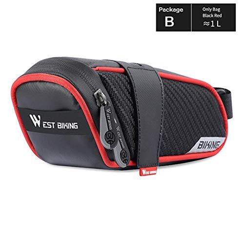 MKLS wasserdichte Fahrradsatteltasche Road Bicycle Tools Packtasche Reflektierende hintere Sattelstützen-Tasche Korb Fahrradzubehör, Klassische rote Tasche