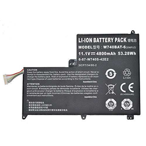 ASKC 53.28Wh 4800mAh W740BAT-6 Laptop Battery For Clevo Schenker S413 W740SU X411 Series 6-87-W740S-42E 3ICP7/34/95-2