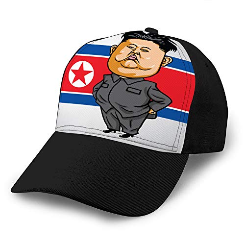 Vintage Jeans Baseball Cap xuxuxu Cartoon mit Nordkorea Flagge Custom Denim Baseball Cap