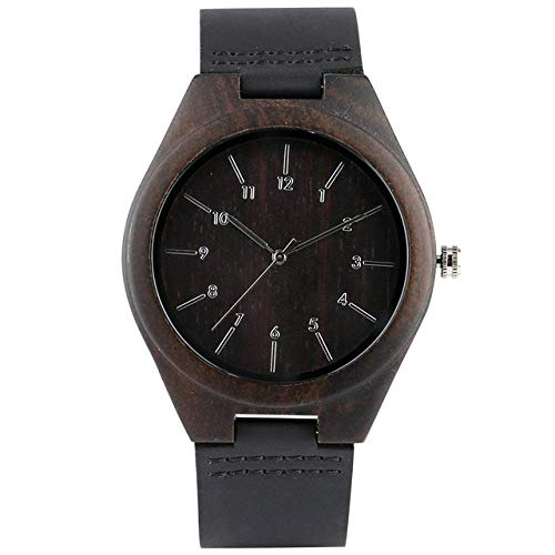 DZNOY Reloj de Madera de Reloj de Madera Reloj de Madera para Hombres Dial conciso con números árabes Relojes Correa de Cuero Reloj de Pulsera de Madera para Novio Reloj de Bolsillo (Color : Black)