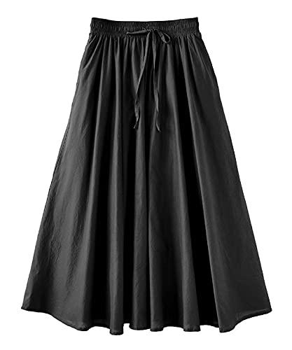 [ズーティー] zootie ルーセント インドコットン マキシスカート[無地] ブラック フリーサイズ