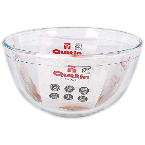 Quttin Bol Mezclador de Vidrio para Cocina, Borosilicato Cristal, Redondo, Microondas Horno Congelador y Lavavajillas, 21.2 x 21.2 x 11.2 cm - 2.5 litros