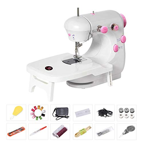 Bruvoalon Electric Sewing Machine, Portable Household Lightweight Sewing Machine for Beginner, Double Thread, Free Arm, Night Light, Foot Pedal, Adjustable 2-Speedfor Tailors/Arts/Crafting (White)
