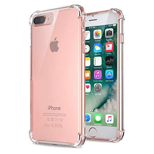Jenuos Funda iPhone 7 Plus/iPhone 8 Plus, Transparente Suave Silicona Protector TPU Anti-Arañazos Carcasa Cristal Caso Cover para iPhone 7 Plus / 8 Plus - Transparente (7P-TPU-CL)