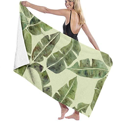 Toalla de playa de microfibra, tamaño grande, diseño de hojas de plátano, 130 x 80 cm, ligera y seca, ideal como toalla de playa y toalla de viaje